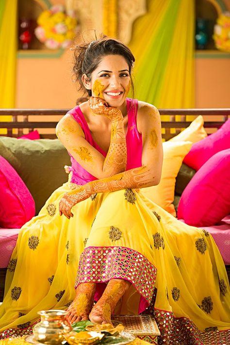 Haldi Ceremony Outfit - yellow lehenga