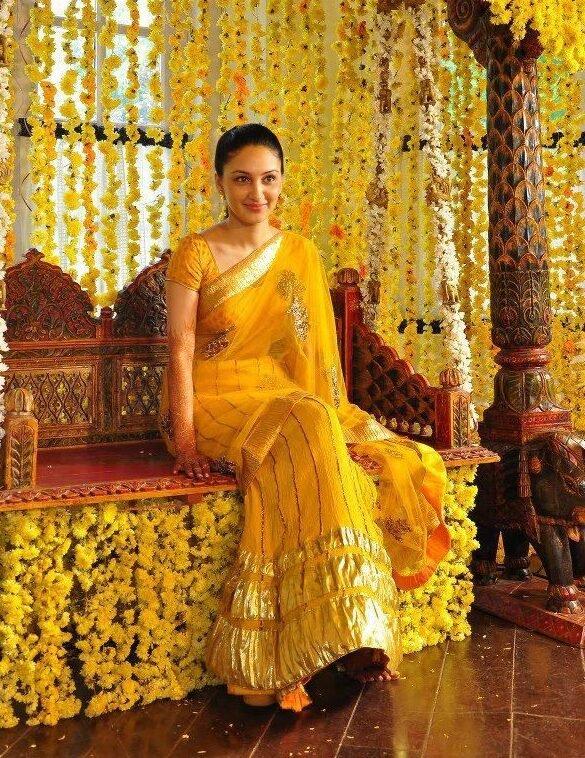 Trendy it up with yellow Half Saree for Haldi Ceremony