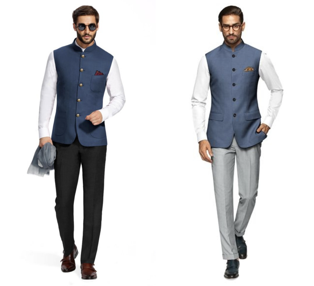 Nehru jacket paired with trousers