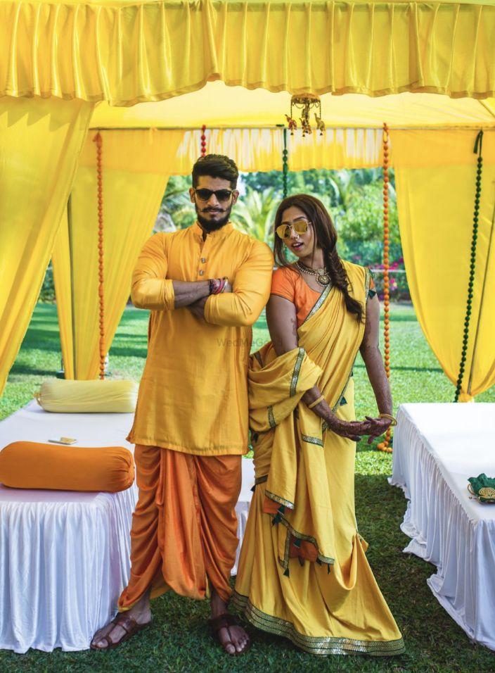 Haldi Dress for Bride & Groom - Yellow Dhoti with matching Yellow Saree