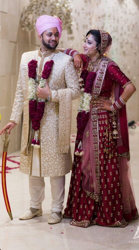 Bride & Groom in their Custom Made Outfits