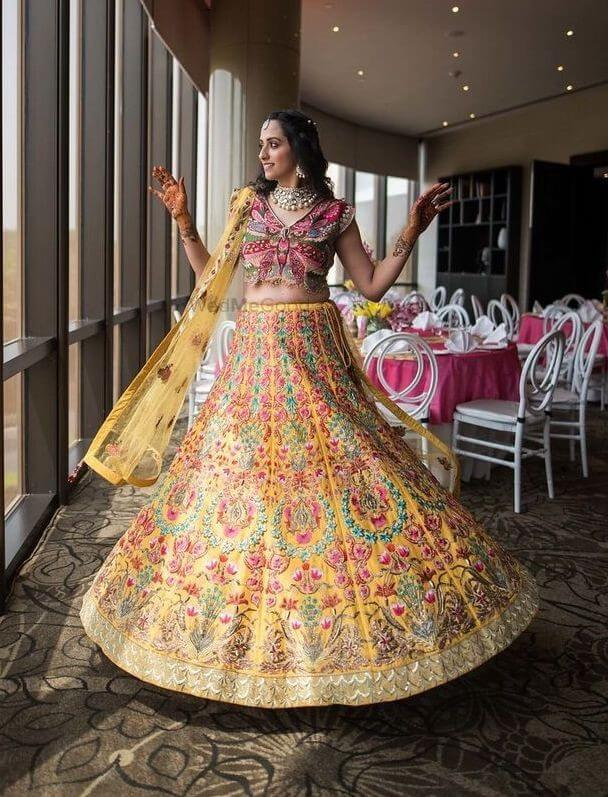 Custom Made Butterfy Blouse with Hand Embroidered Lehenga