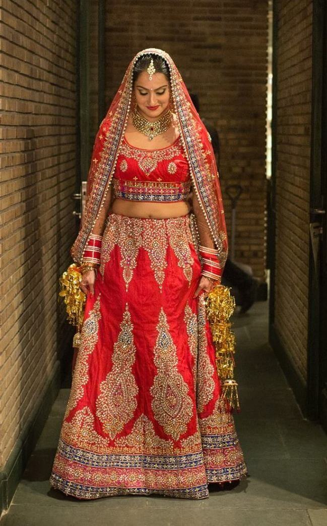 Red Kundan Work Lehenga
