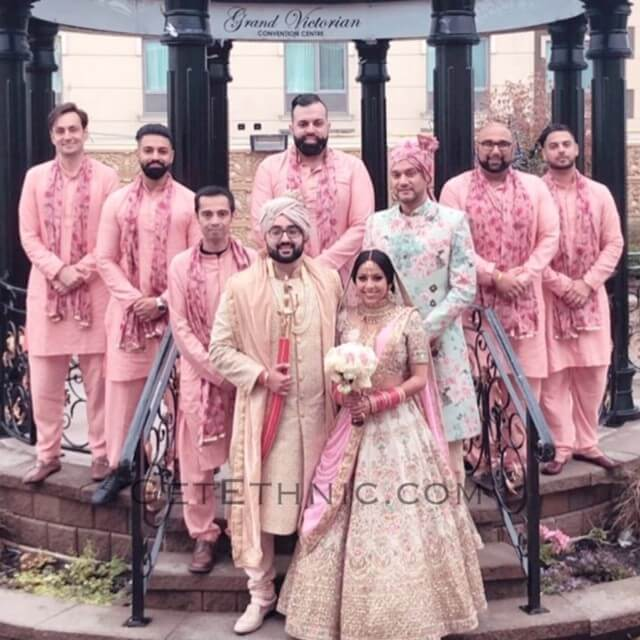 Sherwani and Groomsmen Kurtas with Printed Stoles