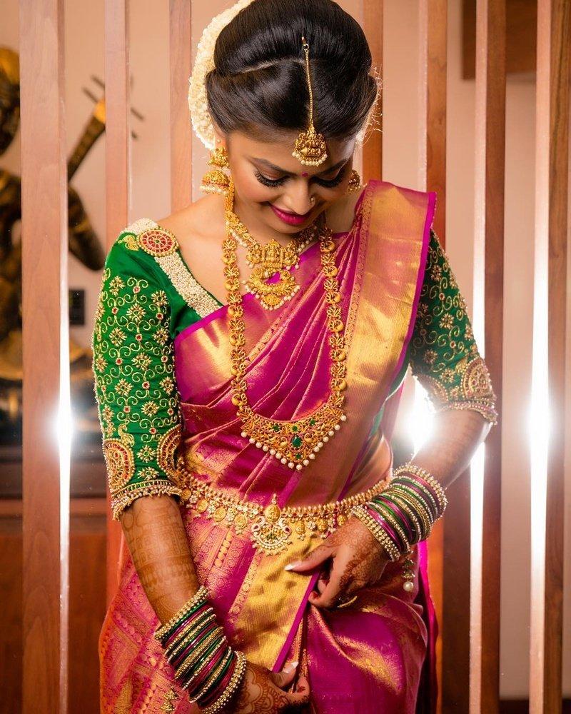 Pink and Gold South Indian wedding Saree