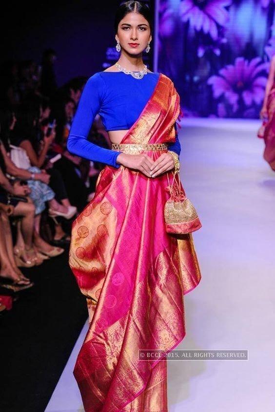 Pink south Indian wedding saree