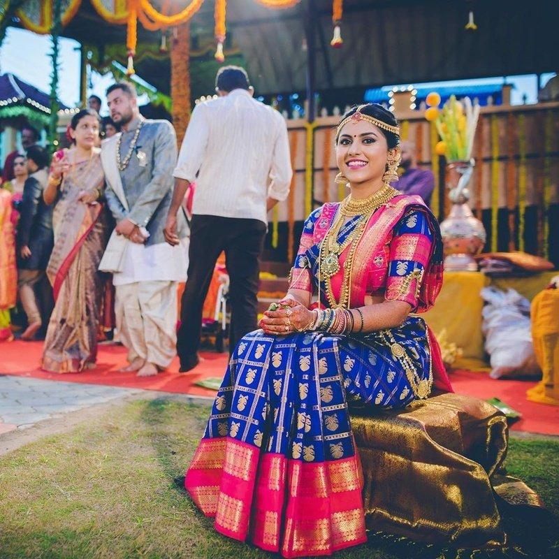south Indian wedding saree in Royal Blue
