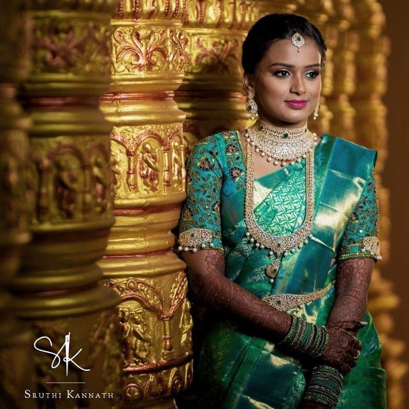 Seafoam color south Indian wedding saree