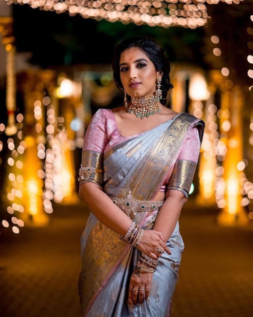 Traditional Hued south Indian wedding saree