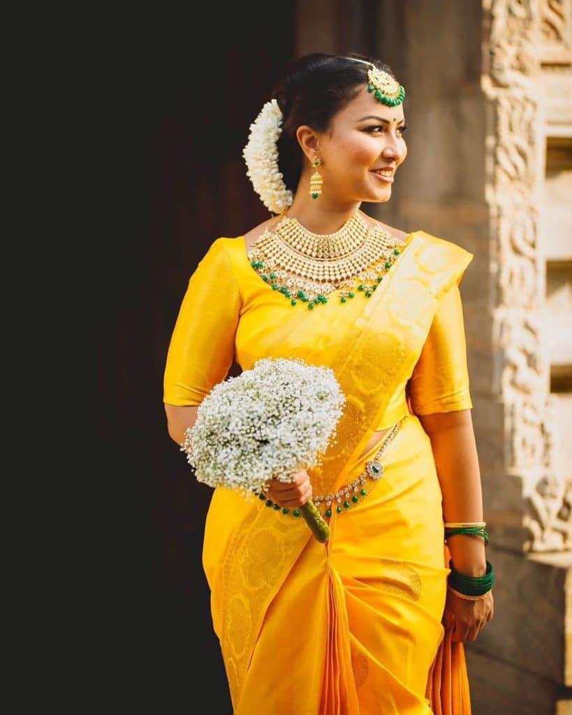 Yellow South Indian Wedding Saree