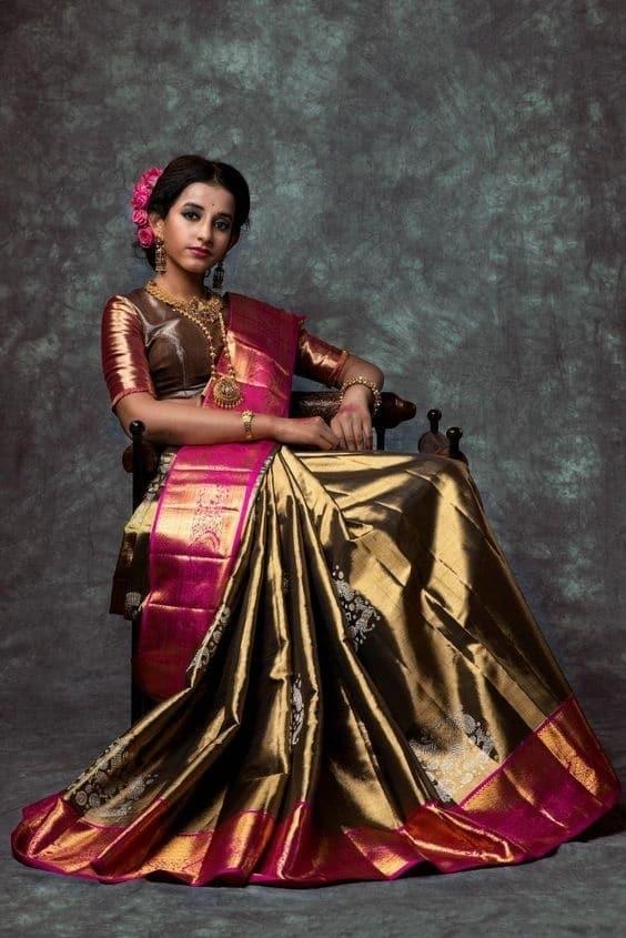 Copper KanchipuramPattu wedding saree
