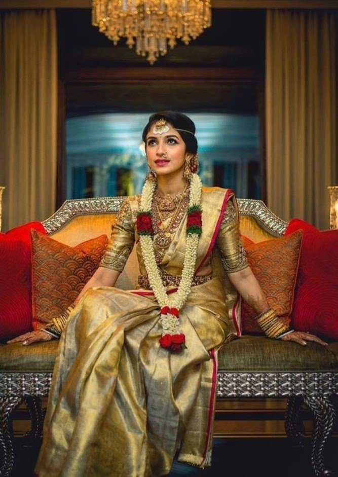 Muted Gold and the Dark Red saree