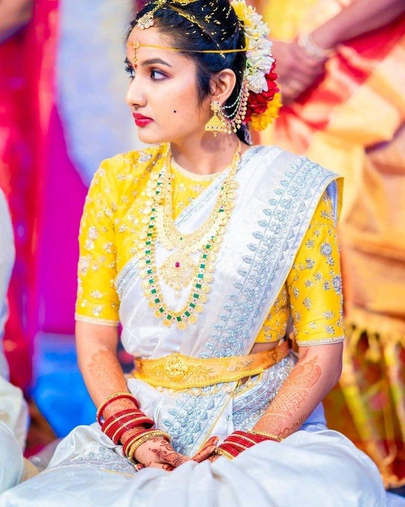 Silver and Yellow wedding saree