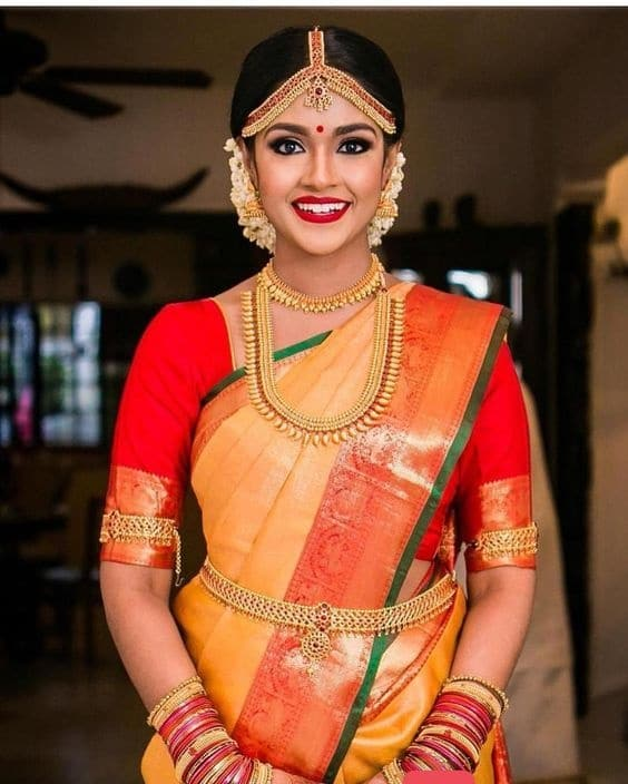 Mustard Yellow Saree with The Green Lining
