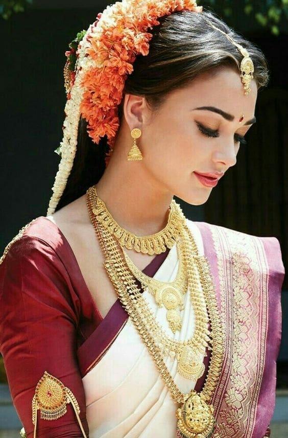 White and Maroon saree