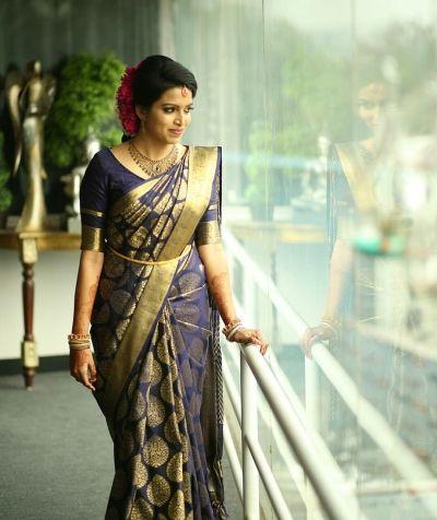 Gold and Blue saree