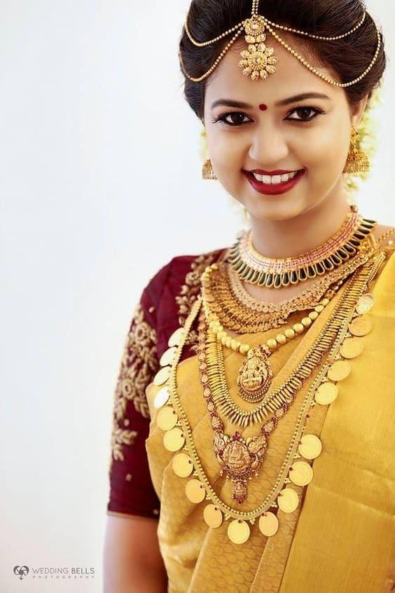 Golden south Indian wedding saree