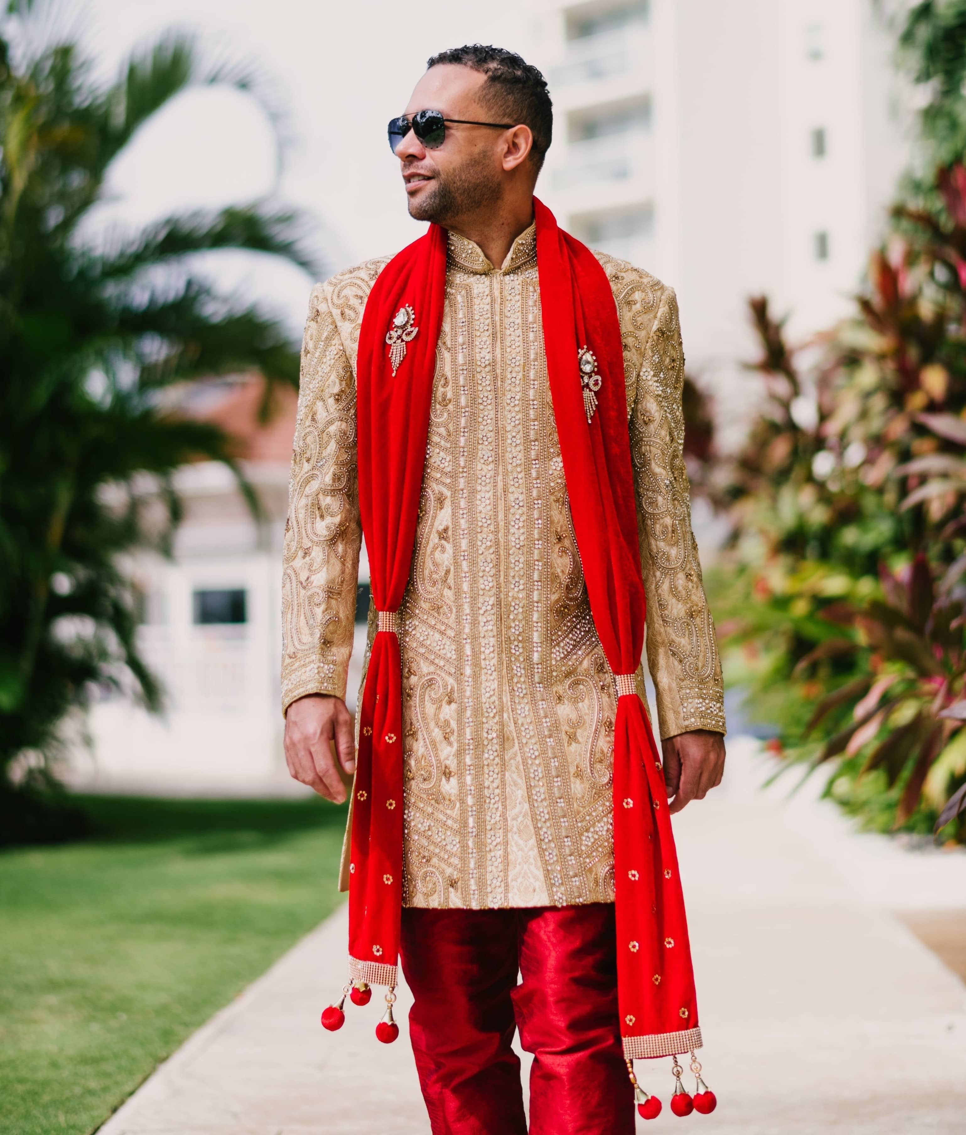 Indian Groom Outfit - red stole with sherwani