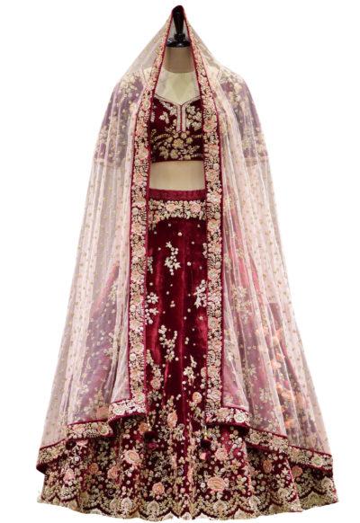 Maroon Sequins Embroidered Velvet Bridal Lehenga