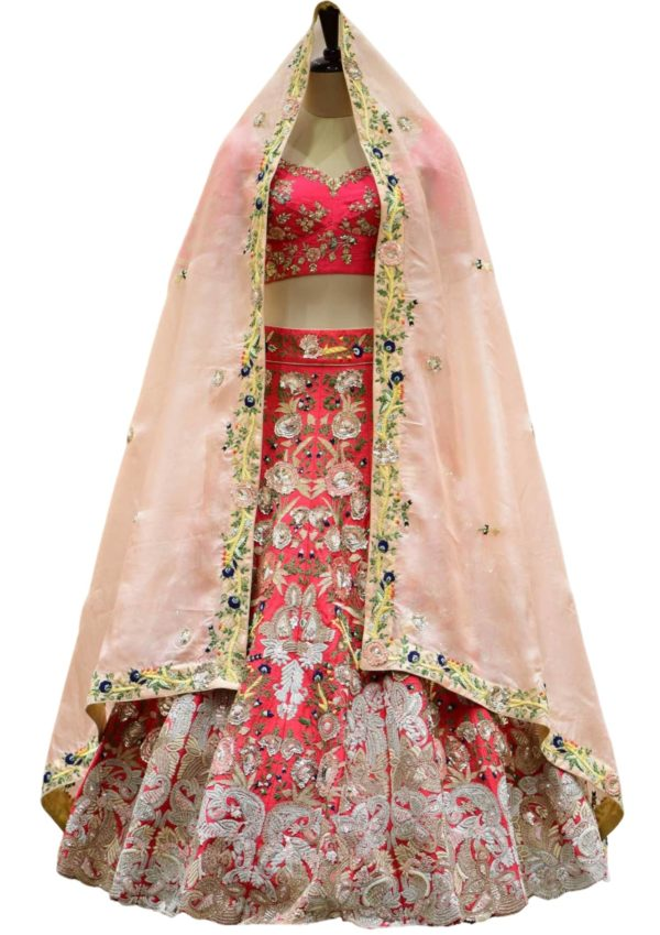 Red Sequins Embroidered Raw Silk Bridal Dress