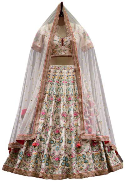 Pastel Peach Resham Embroidered Raw Silk Bridal Lehenga