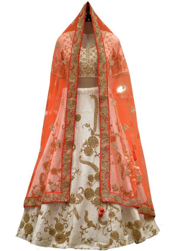 Pastel Pink Bead Embroidered Raw Silk Bridal Lehenga