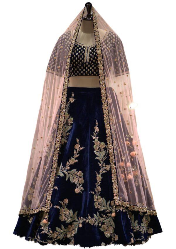 Dark Blue Velvet Resham Embroidered Bridal Lehenga