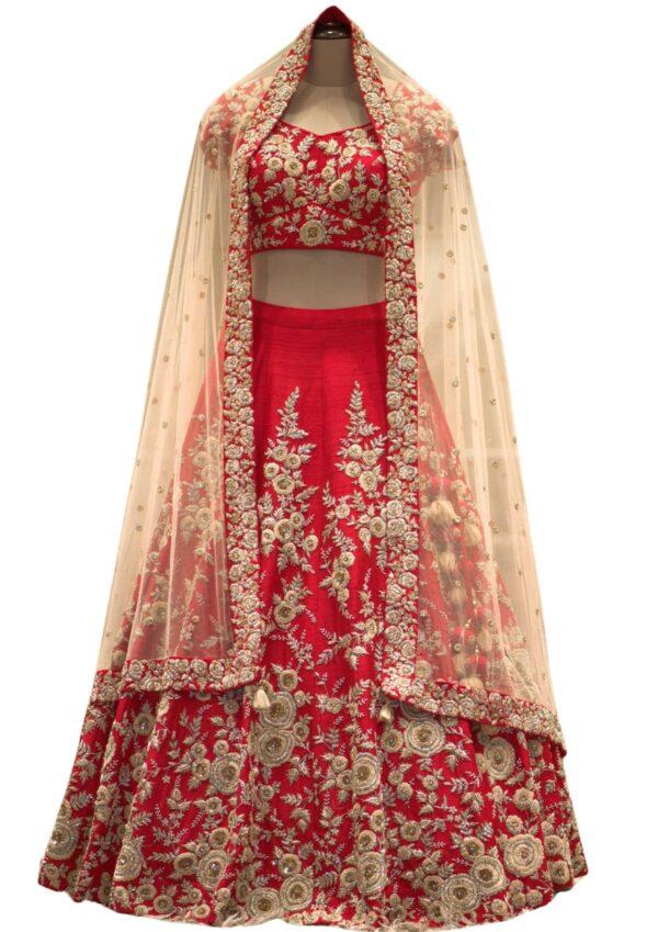 Bright Red Cutdana Embroidered Raw Silk Bridal Lehenga