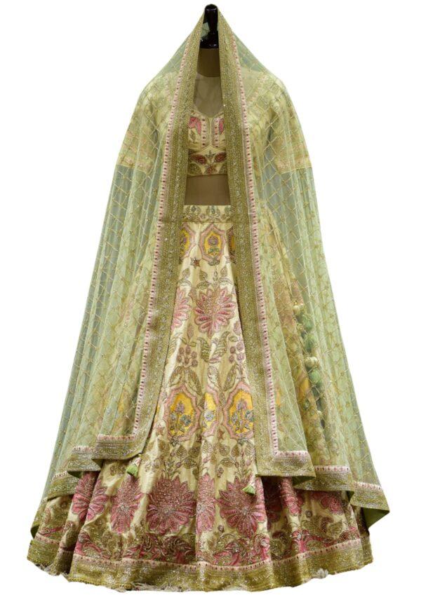 Cream Cutdana Embroidered Raw Silk Bridal Lehenga