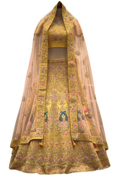 Sunflower Yellow Zardosi Embroidered Raw Silk Bridal Lehenga