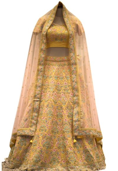 Mustard Zardosi work Raw silk Bridesmaids Lehenga