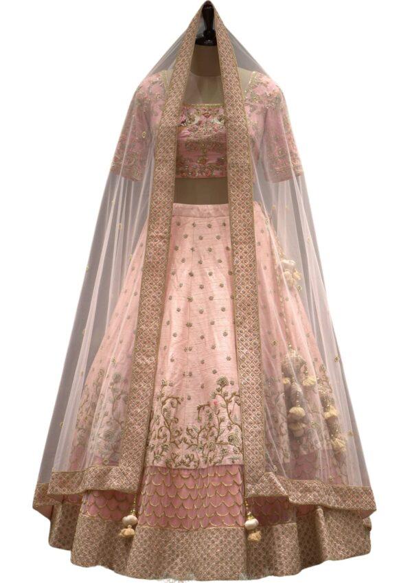 Pastel Pink Cutdana Embroidered Raw Silk Bridal Lehenga