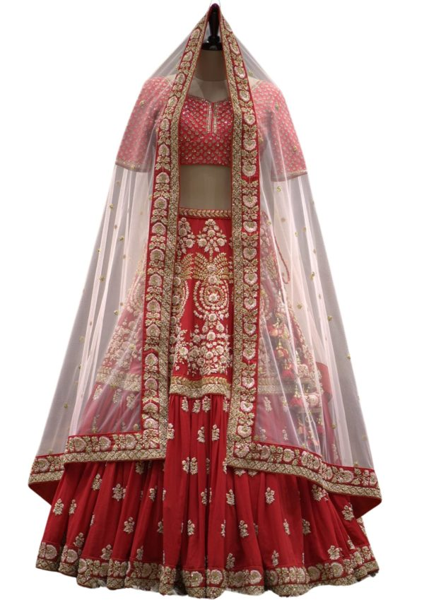 Cherry Red Sequins Embroidered Georgette Bridal Lehenga