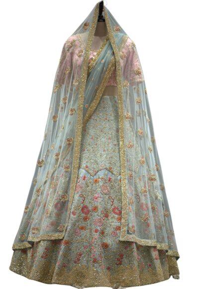 Cambridge Blue Sequins Embroidered Raw Silk Bridal Lehenga
