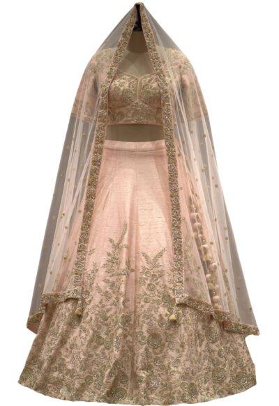 Light Peach Raw Silk Zardosi Embroidered Bridal Lehenga