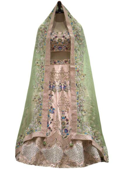 Light Pink Zardosi Embroidered Raw Silk Bridal Lehenga