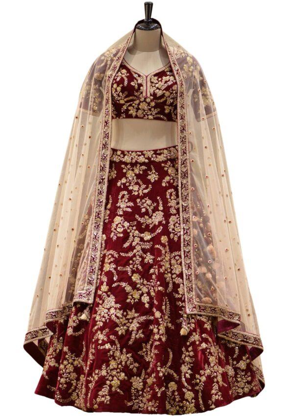 Maroon Velvet Zardosi Embroidered Bridal Lehenga