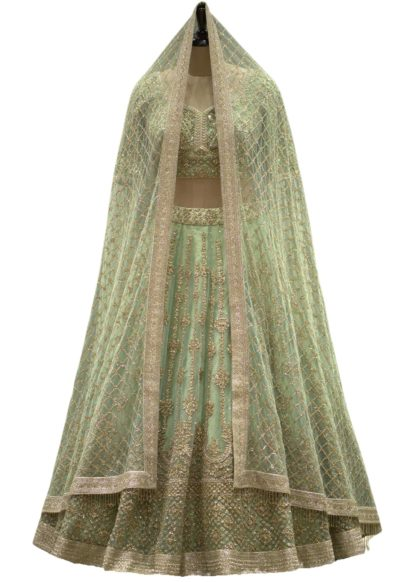 Pastel Green Net Sequins Embroidered Bridal Lehenga
