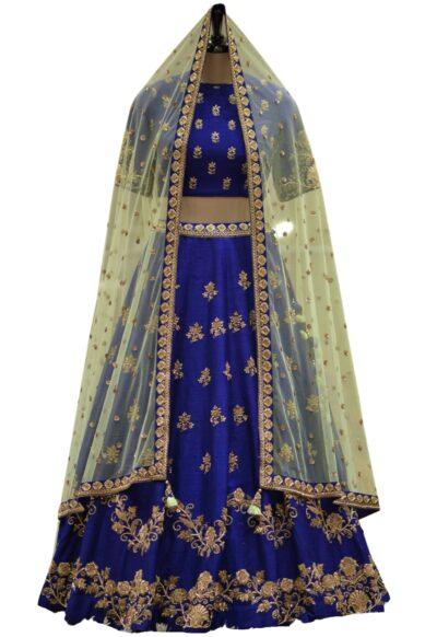 Royal Blue Raw Silk Zardosi Embroidered Bridal Lehenga