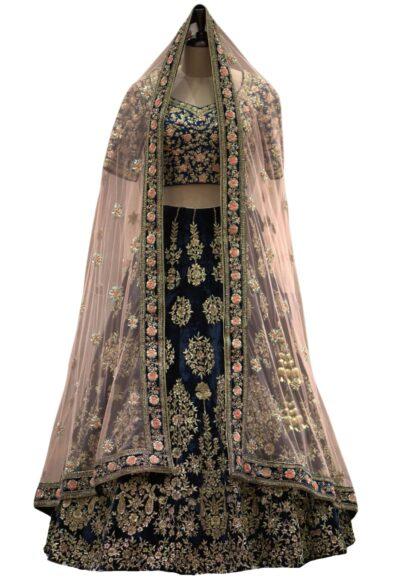Black Zardosi Embroidered Velvet Bridal Lehenga
