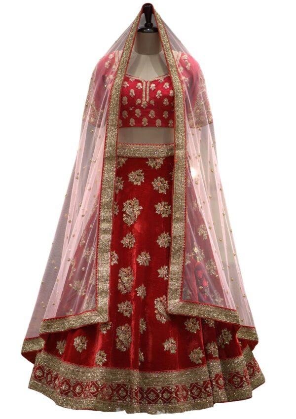 Red Velvet Zardosi Embroidered Bridal Lehenga