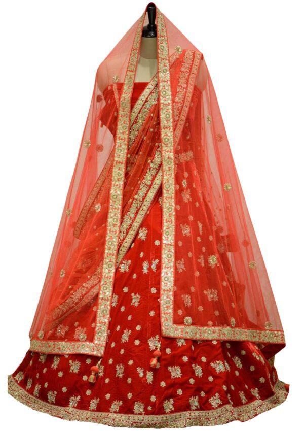 Crimson Red Zardosi Embroidered Velvet Bridal Lehenga