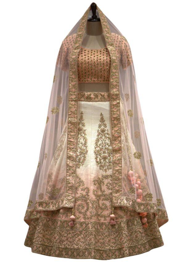 Cream & Orange Sequins Embroidered Raw Silk Bridal Lehenga