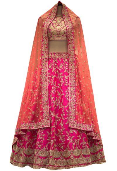 Hotpink & Red Dual Tone Zardosi Embroidered Silk Bridal Lehenga
