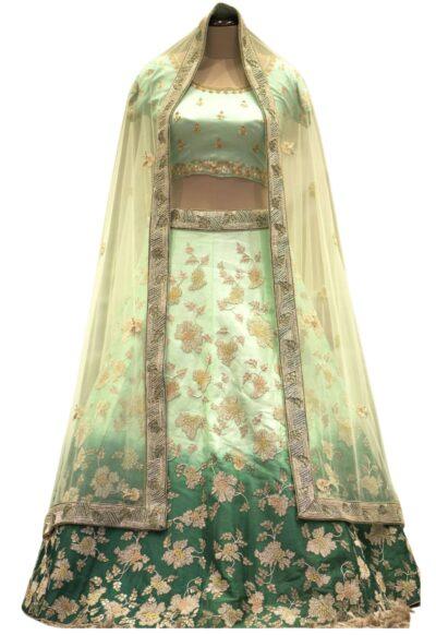 Shaded Green Bead Embroidered Raw silk Bridal Lehenga