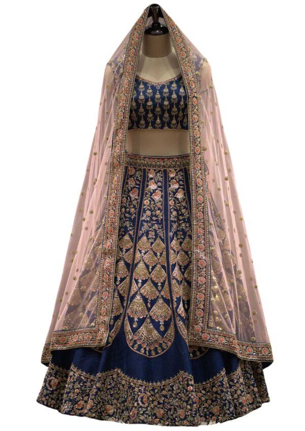 Federal Blue Raw Silk Zardosi Embroidered Bridal Lehenga