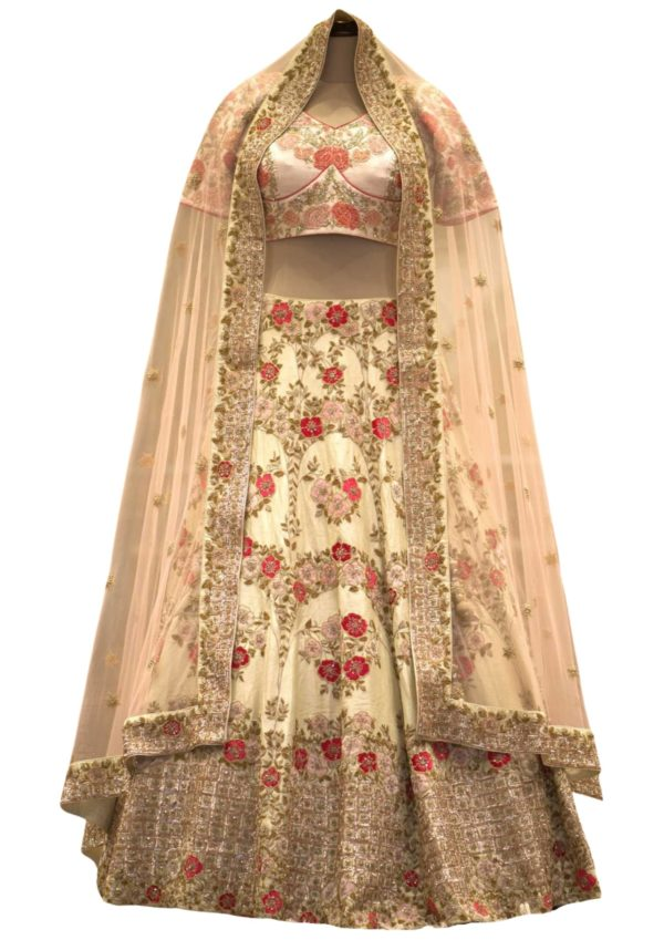 Cream Zardosi Embroidered Raw Silk Bridal Lehenga