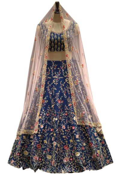 Prussian Blue Sequins Embroidered Raw Silk Bridal Lehenga