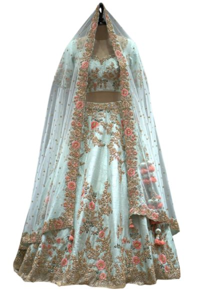 Mint Green Zardosi Embroidered Raw Silk Bridal Lehenga