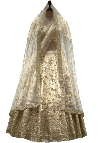 Cream Zari Embroidered Raw Silk Bridal Lehenga